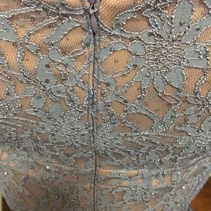 Betsy & Adam Dresses - Periwinkle Lace Evening Gown w/ Nude Underlay